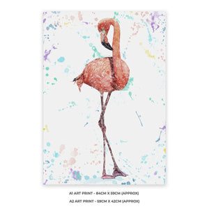 """The Colourful Flamingo"" A1 Unframed Art Print - Andy Thomas Artworks"