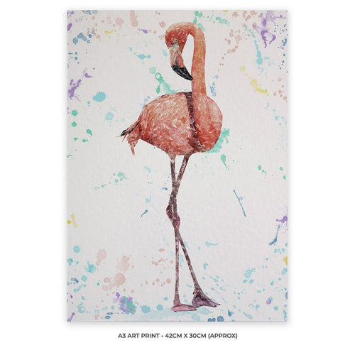 """The Colourful Flamingo"" A3 Unframed Art Print"