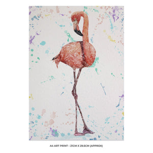 """The Colourful Flamingo"" A4 Unframed Art Print - Andy Thomas Artworks"