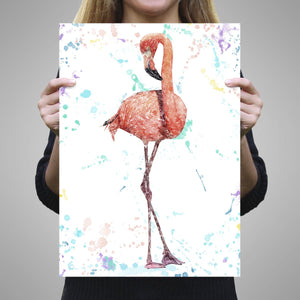 """The Colourful Flamingo"" A2 Unframed Art Print - Andy Thomas Artworks"