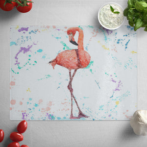 """The Colourful Flamingo"" Glass Worktop Saver"