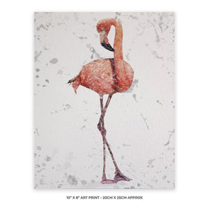 """The Flamingo Grey Background"" 10"" x 8"" Unframed Art Print - Andy Thomas Artworks"