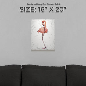 """The Flamingo Grey Background"" Small Canvas Print"
