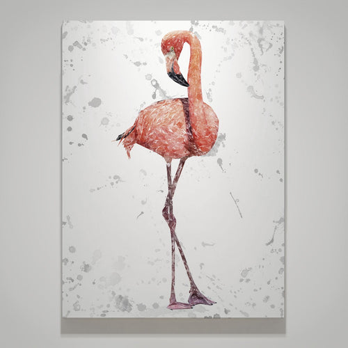 """The Flamingo Grey Background"" Large Canvas Print"