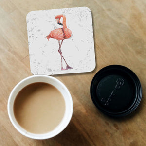 """The Flamingo Grey Background"" Coaster - Andy Thomas Artworks"