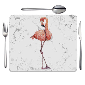 """The Flamingo Grey Background"" Placemat - Andy Thomas Artworks"