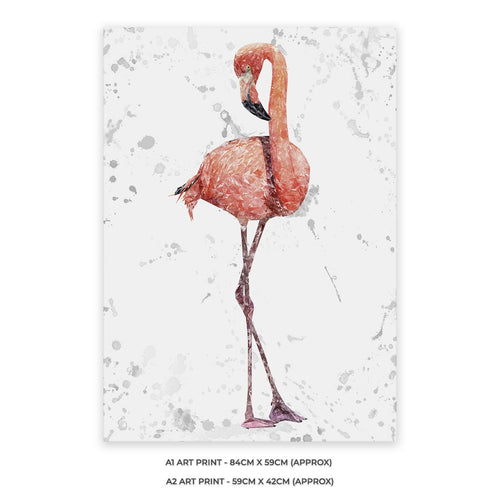 """The Flamingo Grey Background"" A1 Unframed Art Print"