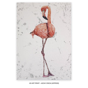 """The Flamingo Grey Background"" A3 Unframed Art Print - Andy Thomas Artworks"