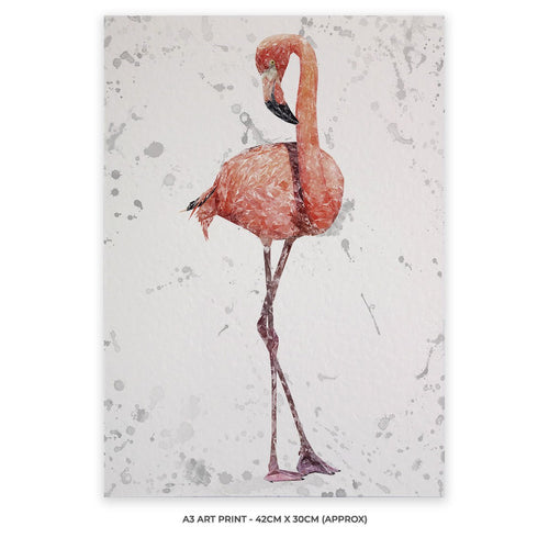 """The Flamingo Grey Background"" A3 Unframed Art Print"
