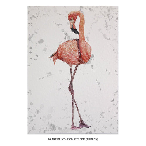 """The Flamingo Grey Background"" A4 Unframed Art Print"