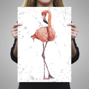 """The Flamingo Grey Background"" A2 Unframed Art Print - Andy Thomas Artworks"