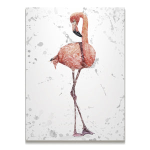 """The Flamingo Grey Background"" Skinny Canvas Print - Andy Thomas Artworks"