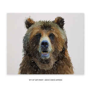 """Monty"" The Brown Bear 10"" x 8"" Unframed Art Print - Andy Thomas Artworks"