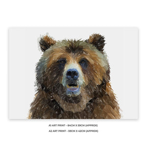 """Monty"" The Brown Bear A1 Unframed Art Print - Andy Thomas Artworks"