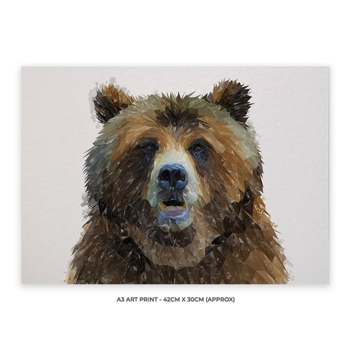 """Monty"" The Brown Bear A3 Unframed Art Print"
