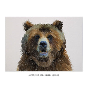 """Monty"" The Brown Bear A4 Unframed Art Print - Andy Thomas Artworks"