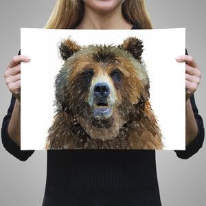 """Monty"" The Brown Bear A3 Unframed Art Print - Andy Thomas Artworks"