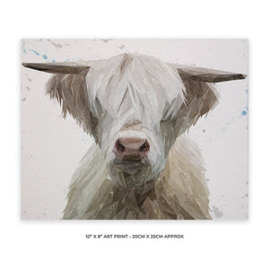 """Evan"" The Highland Bull 10"" x 8"" Unframed Art Print - Andy Thomas Artworks"