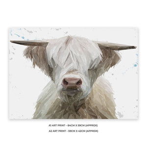 """Evan"" The Highland Bull A2 Unframed Art Print - Andy Thomas Artworks"