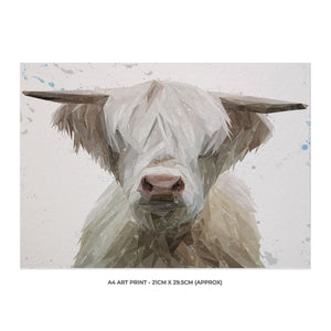 """Evan"" The Highland Bull A4 Unframed Art Print - Andy Thomas Artworks"
