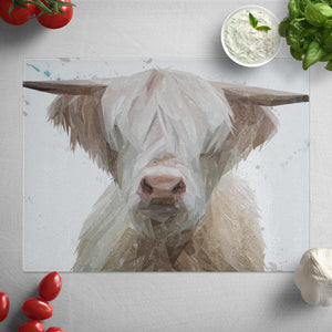 """Evan"" The Highland Bull Glass Worktop Saver"
