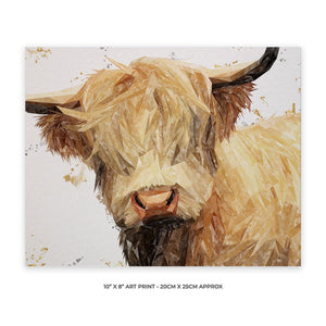 """Brenda"" The Highland Cow 10"" x 8"" Unframed Art Print - Andy Thomas Artworks"