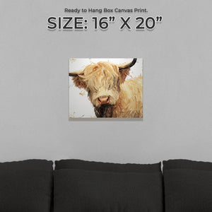 """Brenda"" The Highland Cow Small Canvas Print - Andy Thomas Artworks"