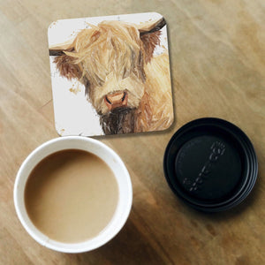 """Brenda"" The Highland Cow Coaster - Andy Thomas Artworks"