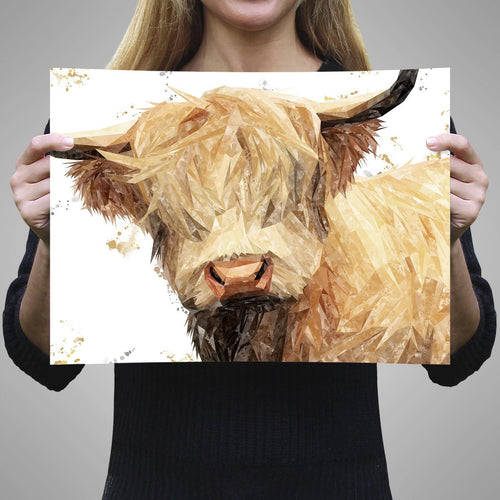 """Brenda"" The Highland Cow A1 Unframed Art Print"