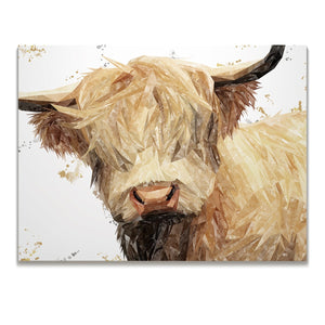 """Brenda"" (Grey Background) The Highland Cow Skinny Canvas Print - Andy Thomas Artworks"