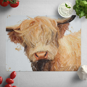 """Brenda"" The Highland Cow Glass Worktop Saver"