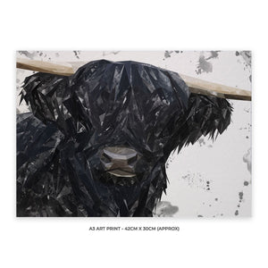 """Fergus"" The Highland Bull A3 Unframed Art Print - Andy Thomas Artworks"