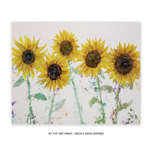 """The Sunflowers"" 10"" x 8"" Unframed Art Print - Andy Thomas Artworks"