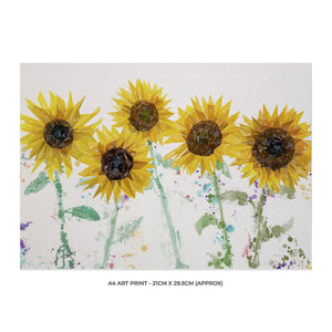 """The Sunflowers"" A4 Unframed Art Print - Andy Thomas Artworks"
