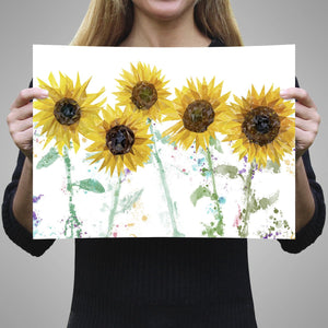 """The Sunflowers"" A2 Unframed Art Print - Andy Thomas Artworks"
