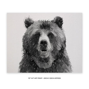 """Monty"" The Brown Bear (B&W) 10"" x 8"" Unframed Art Print - Andy Thomas Artworks"