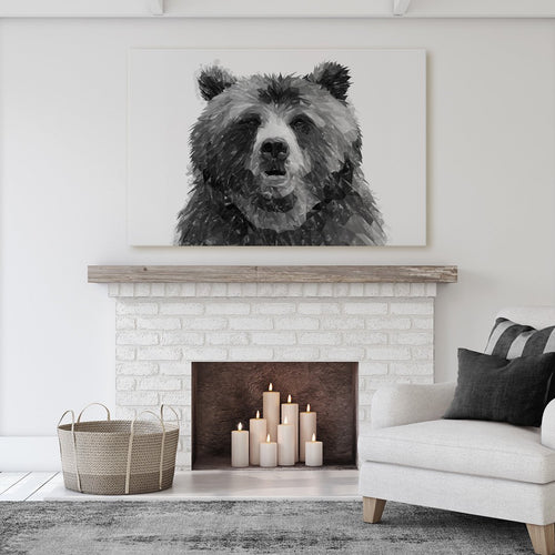 """Monty"" The Brown Bear (B&W) Massive Canvas Print"