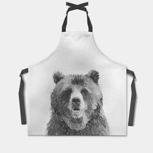 """Monty"" The Brown Bear (B&W) Apron - Andy Thomas Artworks"