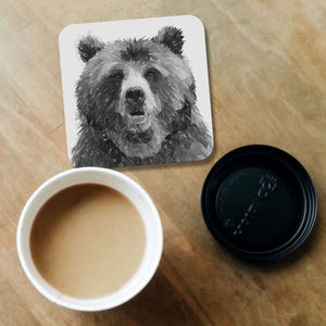 """Monty"" The Brown Bear (B&W) Coaster - Andy Thomas Artworks"