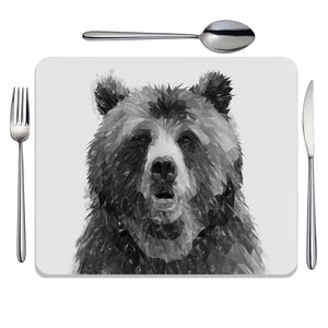 """Monty"" The Brown Bear (B&W) Placemat - Andy Thomas Artworks"
