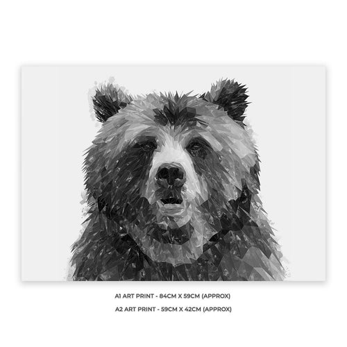 """Monty"" The Brown Bear (B&W) Unframed Art Print"