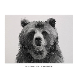"""Monty"" The Brown Bear (B&W) A4 Unframed Art Print - Andy Thomas Artworks"