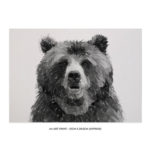 """Monty"" The Brown Bear (B&W) A4 Unframed Art Print"