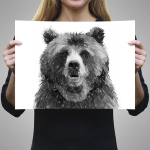 """Monty"" The Brown Bear (B&W) A2 Unframed Art Print - Andy Thomas Artworks"