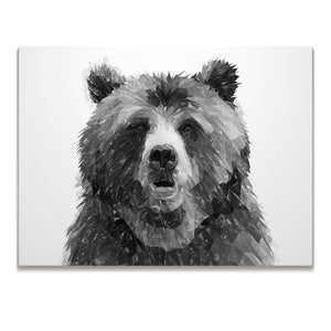 """Monty"" The Brown Bear (B&W) Skinny Canvas Print - Andy Thomas Artworks"