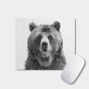 """Monty"" The Brown Bear (B&W) Mousemat - Andy Thomas Artworks"