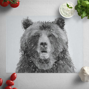 """Monty"" The Brown Bear (B&W) Glass Worktop Saver"