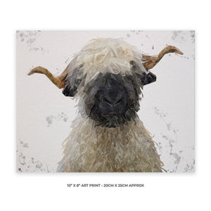 """Betty"" The Valais Blacknose Sheep (Grey Background) 10"" x 8"" Unframed Art Print - Andy Thomas Artworks"