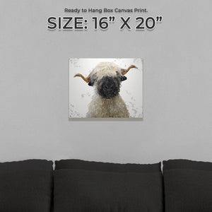 """Betty"" The Valais Blacknose Sheep (Grey Background) Small Canvas Print - Andy Thomas Artworks"