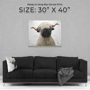 """Betty"" The Valais Blacknose Sheep (Grey Background) Large Canvas Print - Andy Thomas Artworks"